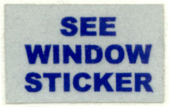 SEE WINDOW STICKER sticker
