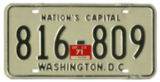 1968 (exp. 3-31-69) Passenger plate no. 816-809 validated for 1970 (exp. 3-31-71)