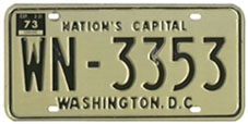 1968 base Diplomatic plate no. WN-3353 validated for the 1972 (exp. 3-31-73) registration year