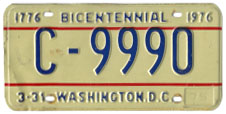 1974 base Commercial plate no. C-9990