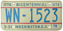 1974 base Diplomatic Staff plate no. WN-1523