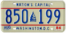 1983 general-issue passenger car plate no. 850-199