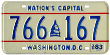 1982 general-issue passenger car plate no. 766-167