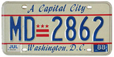 1984 base medical doctor plate no. MD-2862