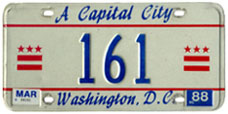 1984 base reserved passenger plate no. 161