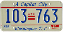 1986 general-issue passenger car plate no. 103-763