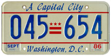 1985 general-issue passenger car plate no. 045-654
