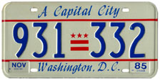 1984 general-issue passenger car plate no. 931-332