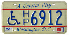 1984 base handicapped person plate no. HP6912