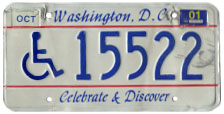 Late style 1991 base Handicapped Person plate no. 15522