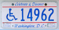 Early style 1991 base Handicapped Person plate no. 14962