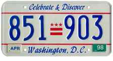 1991 Passenger plate no. 851-903 validated for 1997-1998 (exp. April 1998)