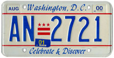 Plate no. AN-2721, issued Aug. 1999