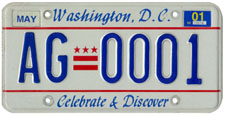 Plate no. AG-0001, issued May 1998