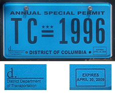 May 1, 2008-April 30, 2009 Annual Special Permit no. TC-1996 with detail of D DOT mark and expiration date
