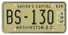 1965 Sightseeing Bus plate no. BS-130 renewed for the 1966 (exp. 3-31-67) registration year