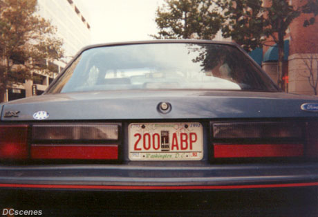 A Ford Mustang registered with City Bicentennial plate no. 200-ABP stickered to expire in October 1992.