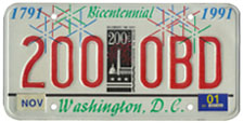 City Bicentennial plate no. 200-OBD
