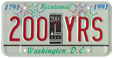 City Bicentennial sample plate no. 200-YRS