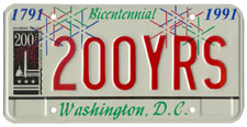 City Bicentennial sample personalized plate no. 200YRS