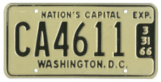 1965 (exp. 3-31-66) Commercial (Truck) plate no. CA4611