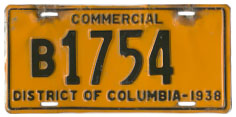 1938 Commercial plate no. B1754