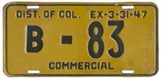 1946 (exp. 3-31-47) Commercial plate no. B-83