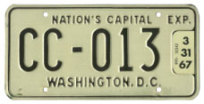 1965 (undated variety) Commercial (Truck) plate no. CC-013 validated for 1966