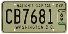 1965 Commercial (Truck) plate no. CB7681 validated for 1968