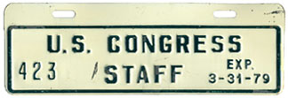 1978-79 U.S. Congress Staff permit no. 423