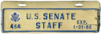 1981-82 U.S. Senate Staff permit no. 454
