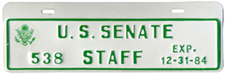 1984 U.S. Senate Staff permit no. 538