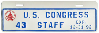 1992 U.S. Congress Staff permit no. 43