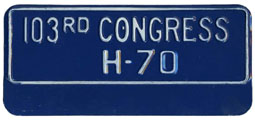 103rd Congress (House of Rep.) permit no. H-70