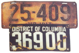 D.C. undated porcelain plate no. 36900 attached to 1917 Maryland plate no. 25-409