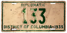 1935 Diplomatic plate no. 133