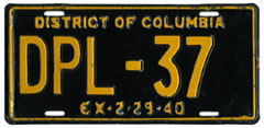 1939 Diplomatic plate no. 37