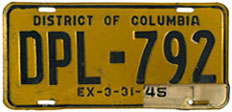 1942 Diplomatic plate no. 792 validated for 1944