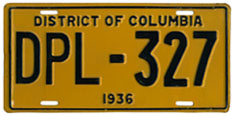 1936 Diplomatic plate no. 327