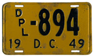 1949 (exp. 3-31-50) Diplomatic plate no. 894