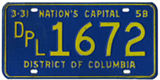 1957 (exp. 3-31-58) Diplomatic plate no. 1672