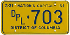 1960 (exp. 3-31-61) Diplomatic plate no. 703