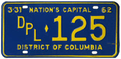 1961 (exp. 3-31-62) Diplomatic plate no. 125