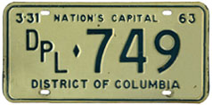 1962 (exp. 3-31-63) Diplomatic plate no. 749