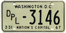 1968 (exp. 3-31-69) Diplomat plate validated for 1972 (exp. 3-31-73)
