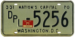 1970 (1969 (exp. 3-31-70) plate revalidated to expire 3-31-71) Diplomatic plate no. 5256
