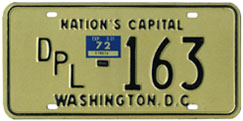 1971 (exp. 3-31-72) Diplomatic plate no. 163