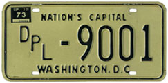 1972 (exp. 3-31-73) Diplomatic plate no. 9001