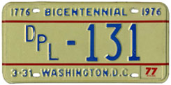 1976 (exp. 3-31-77) Diplomatic plate no. 131
