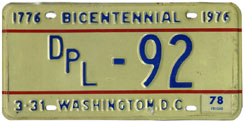 1977 (exp. 3-31-78) Diplomatic plate no. 92